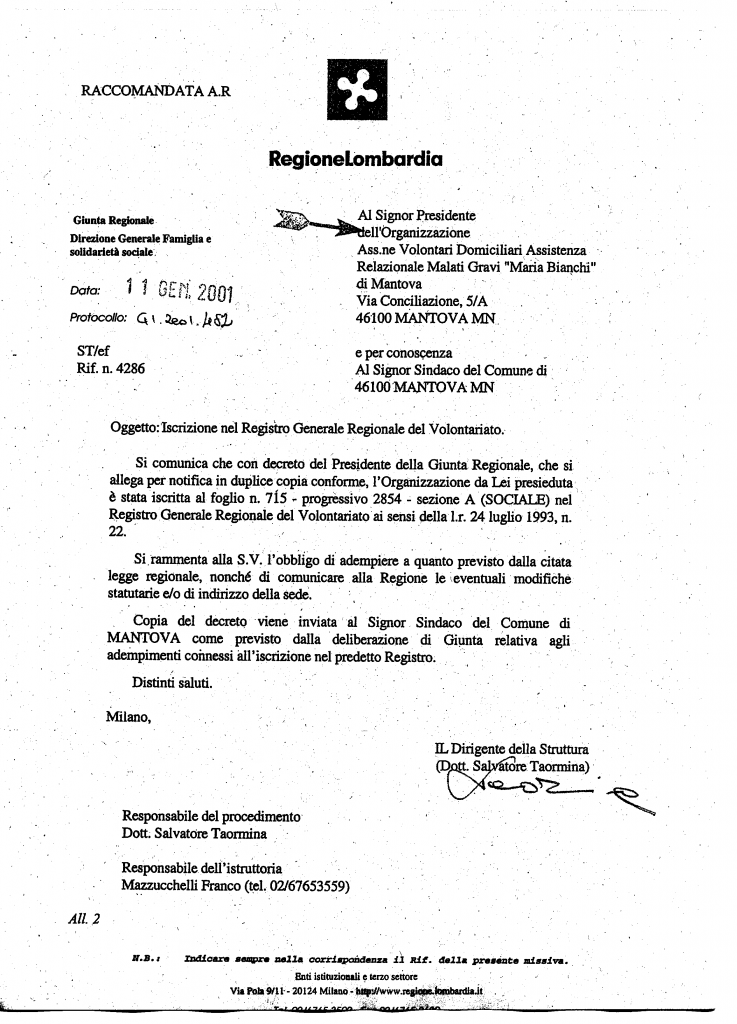 Associazione Maria Bianchi Mantova Riconoscimento